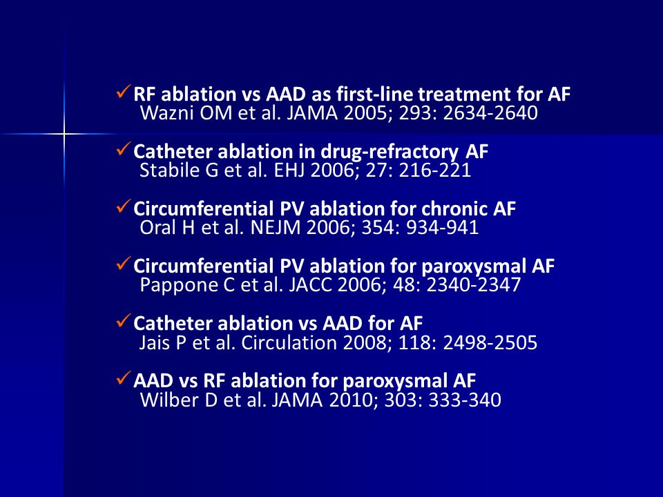 RF ablation vs AAD as first-line treatment for AF