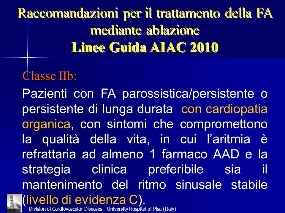 Raccomandazioni per il trattamento della FA mediante ablazione Linee Guida AIAC 2010