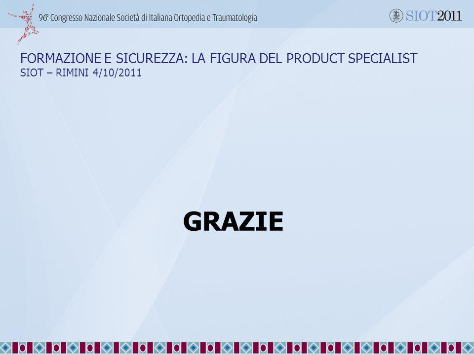 28/09/11 28/09/11. FORMAZIONE E SICUREZZA: LA FIGURA DEL PRODUCT SPECIALIST SIOT – RIMINI 4/10/2011.