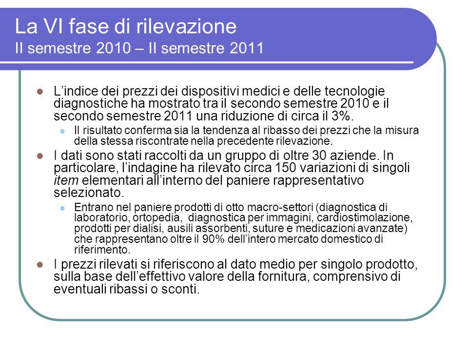La VI fase di rilevazione II semestre 2010 – II semestre 2011