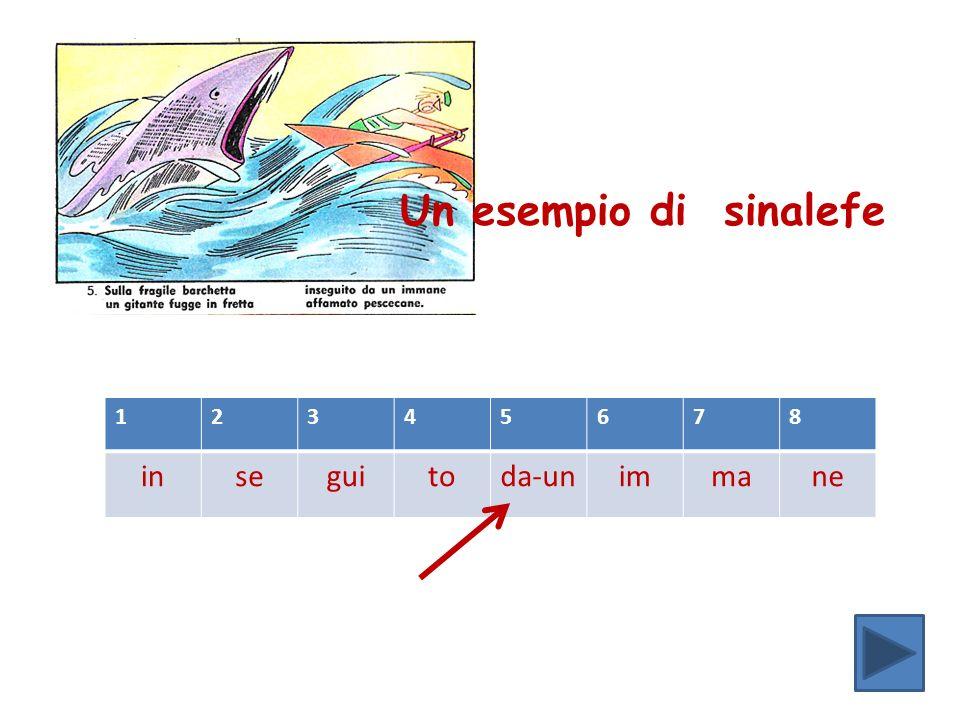 Un esempio di sinalefe 1 2 3 4 5 6 7 8 in se gui to da-un im ma ne
