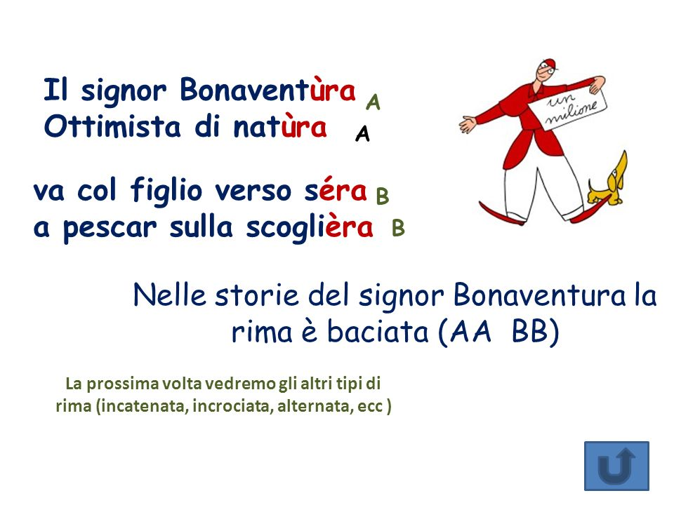 Nelle storie del signor Bonaventura la rima è baciata (AA BB)