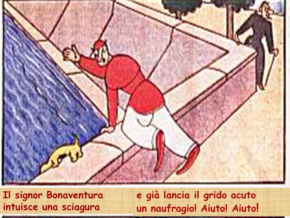Il signor Bonaventura intuisce una sciagura e già lancia il grido acuto un naufragio! Aiuto! Aiuto!