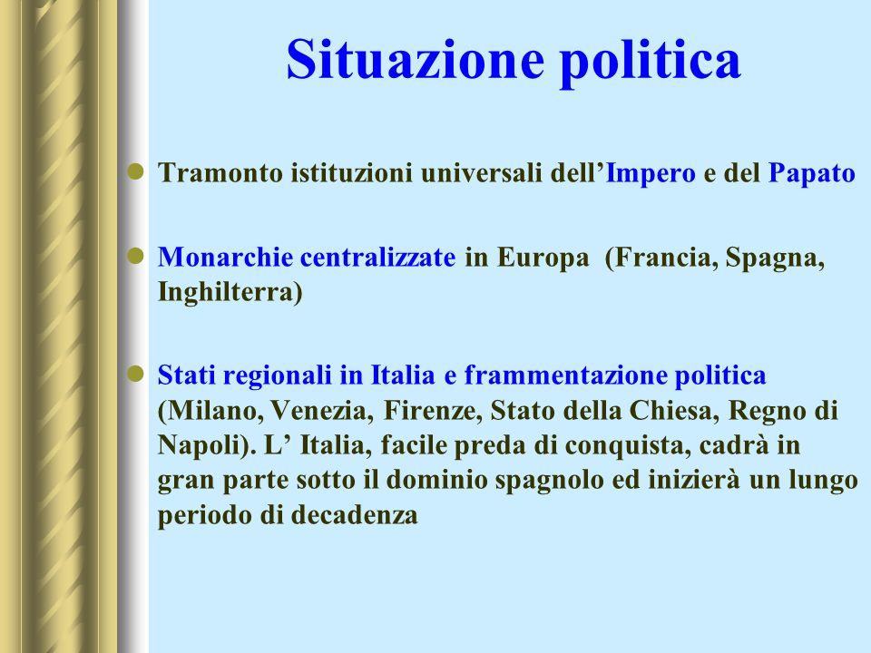 Situazione politicaTramonto istituzioni universali dell'Impero e del Papato. Monarchie centralizzate in Europa (Francia, Spagna, Inghilterra)