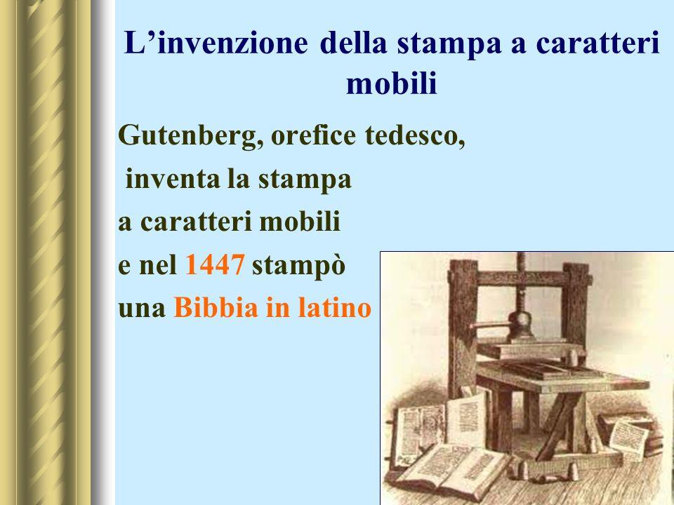 L'invenzione della stampa a caratteri mobili