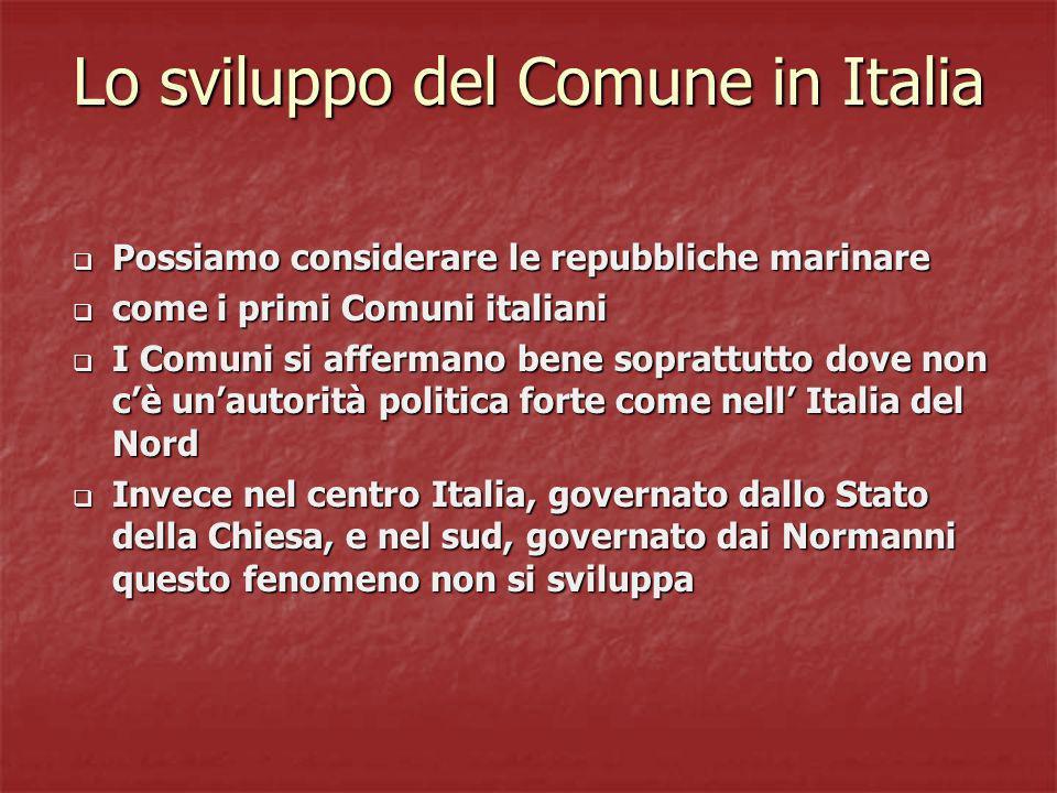 Lo sviluppo del Comune in Italia