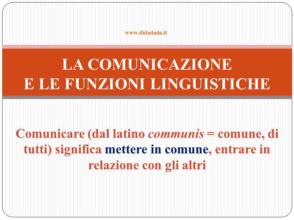 LA COMUNICAZIONE E LE FUNZIONI LINGUISTICHE