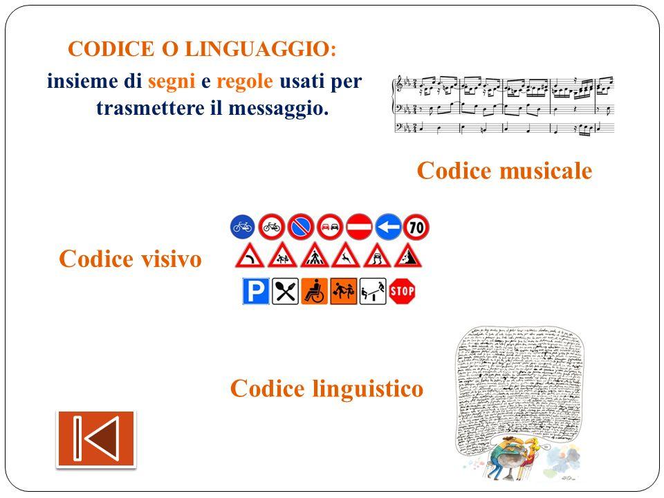 insieme di segni e regole usati per trasmettere il messaggio.