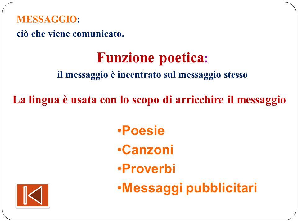 Funzione poetica: Poesie Canzoni Proverbi Messaggi pubblicitari