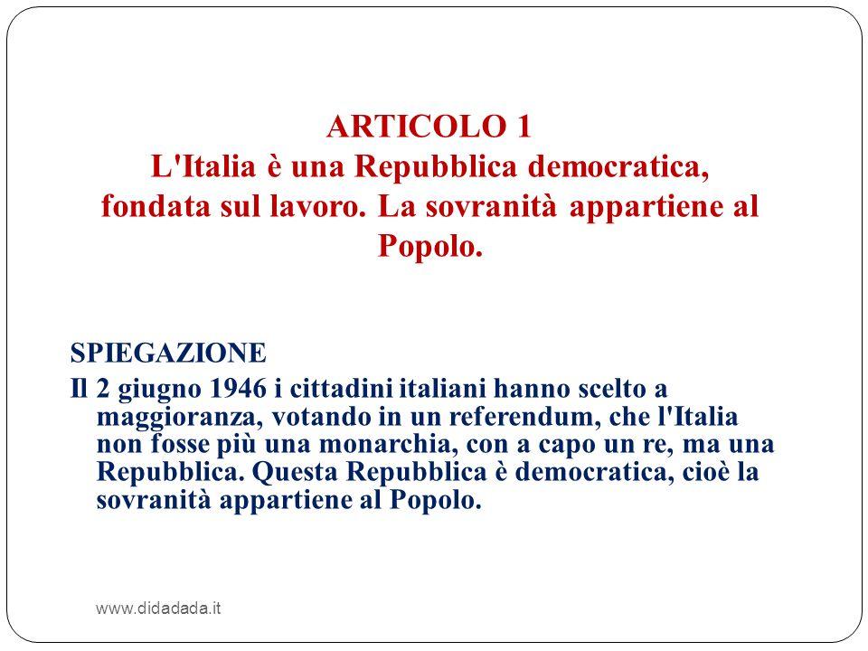 L Italia è una Repubblica democratica,