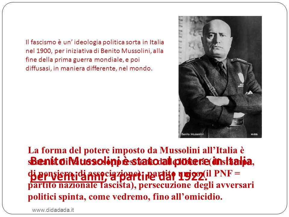 Il fascismo è un' ideologia politica sorta in Italia nel 1900, per iniziativa di Benito Mussolini, alla fine della prima guerra mondiale, e poi diffusasi, in maniera differente, nel mondo.