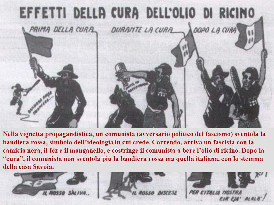 Il fascismo è arrivato al potere con metodi violenti, usando il manganello e l'olio di ricino (un potente lassativo) contro gli avversari politici.