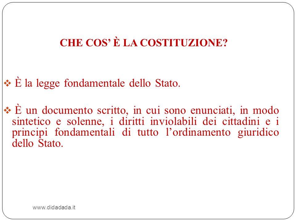 È la legge fondamentale dello Stato.