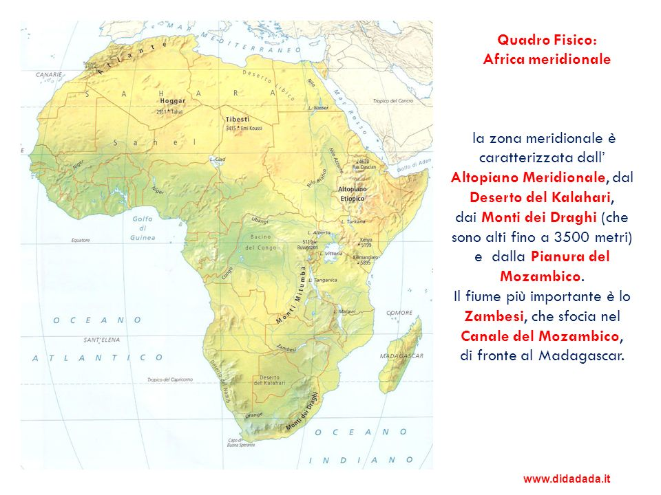 Quadro Fisico: Africa meridionale
