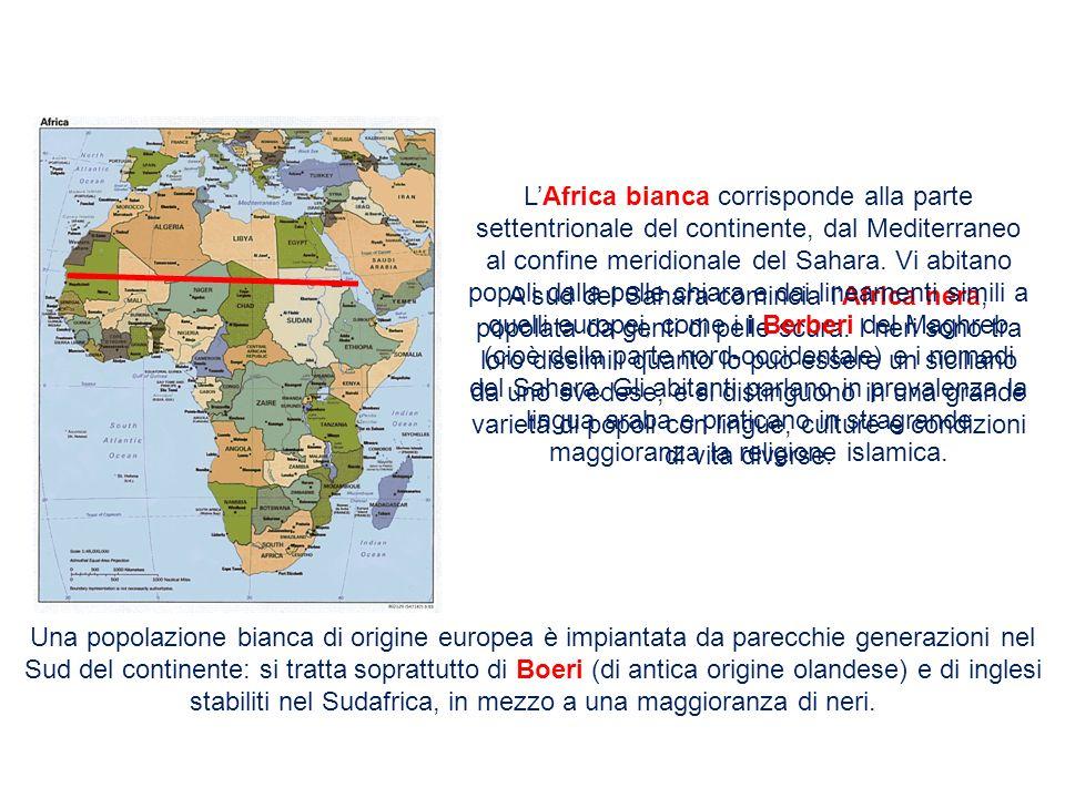 L'Africa bianca corrisponde alla parte settentrionale del continente, dal Mediterraneo al confine meridionale del Sahara. Vi abitano popoli dalla pelle chiara e dai lineamenti simili a quelli europei, come i i Berberi del Maghreb (cioè della parte nord-occidentale) e i nomadi del Sahara. Gli abitanti parlano in prevalenza la lingua araba e praticano in stragrande maggioranza la religione islamica.