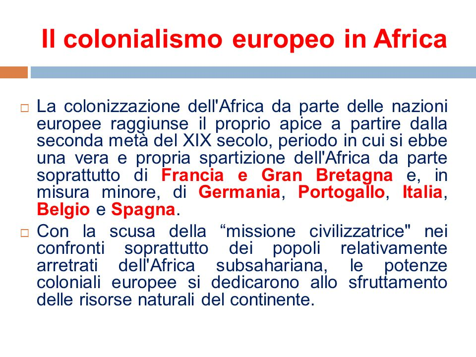 Il colonialismo europeo in Africa
