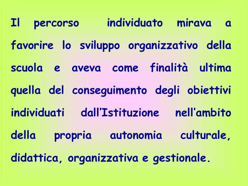 Il percorso individuato mirava a favorire lo sviluppo organizzativo della scuola e aveva come finalità ultima quella del conseguimento degli obiettivi individuati dall'Istituzione nell'ambito della propria autonomia culturale, didattica, organizzativa e gestionale.