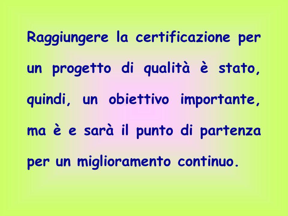 Raggiungere la certificazione per un progetto di qualità è stato, quindi, un obiettivo importante, ma è e sarà il punto di partenza per un miglioramento continuo.