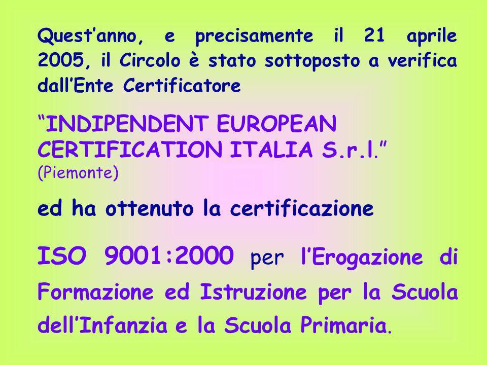 Quest'anno, e precisamente il 21 aprile 2005, il Circolo è stato sottoposto a verifica dall'Ente Certificatore
