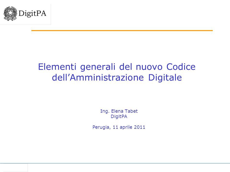 Elementi generali del nuovo Codice dell'Amministrazione Digitale
