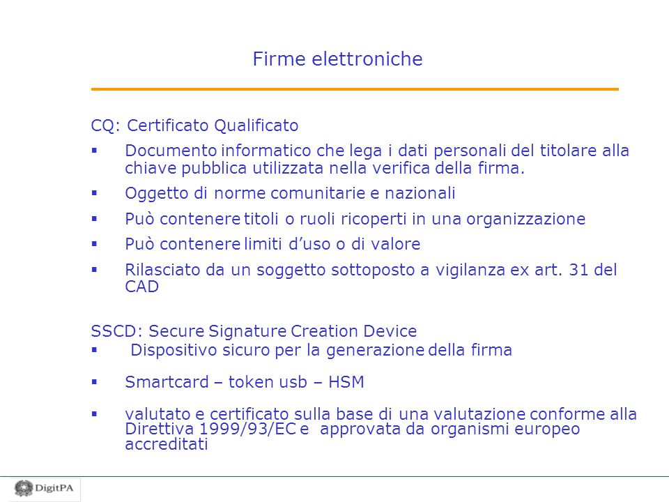 Firme elettroniche CQ: Certificato Qualificato