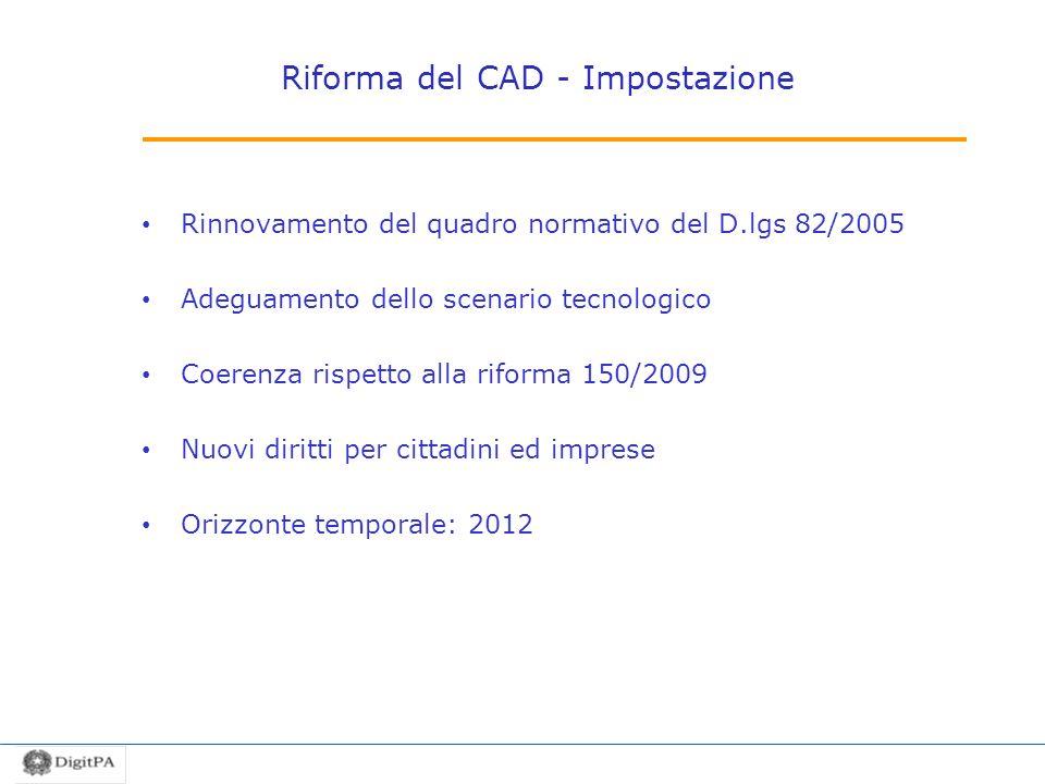 Riforma del CAD - Impostazione