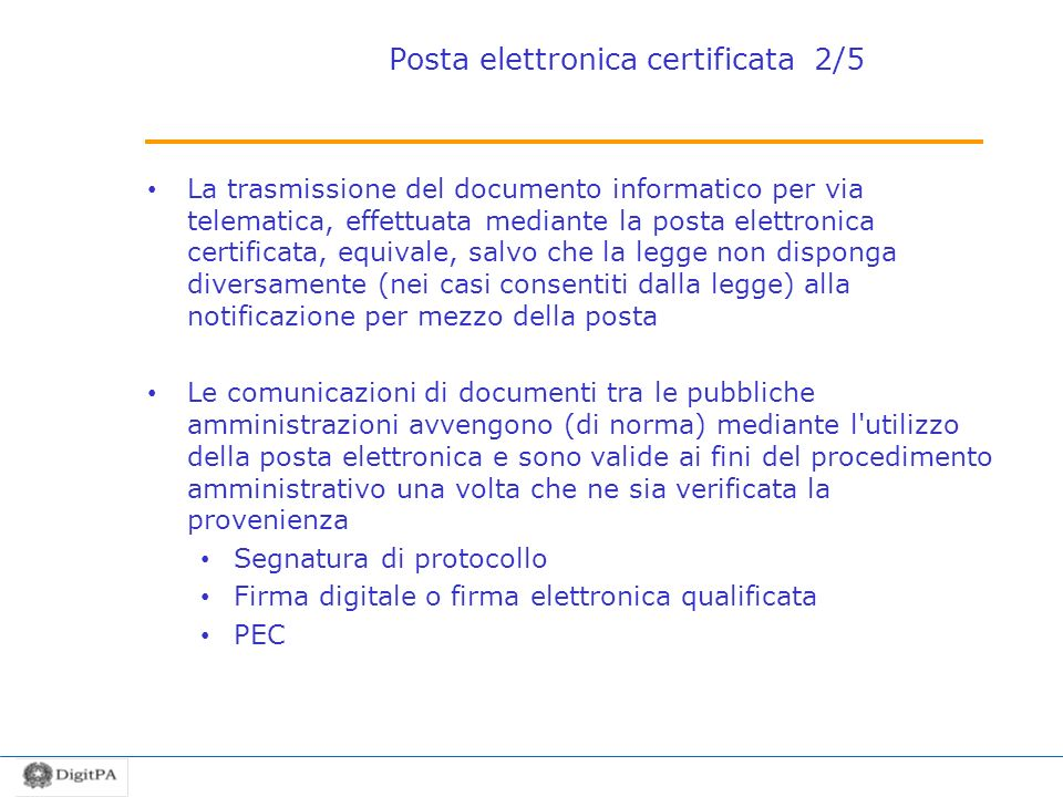 Posta elettronica certificata 2/5