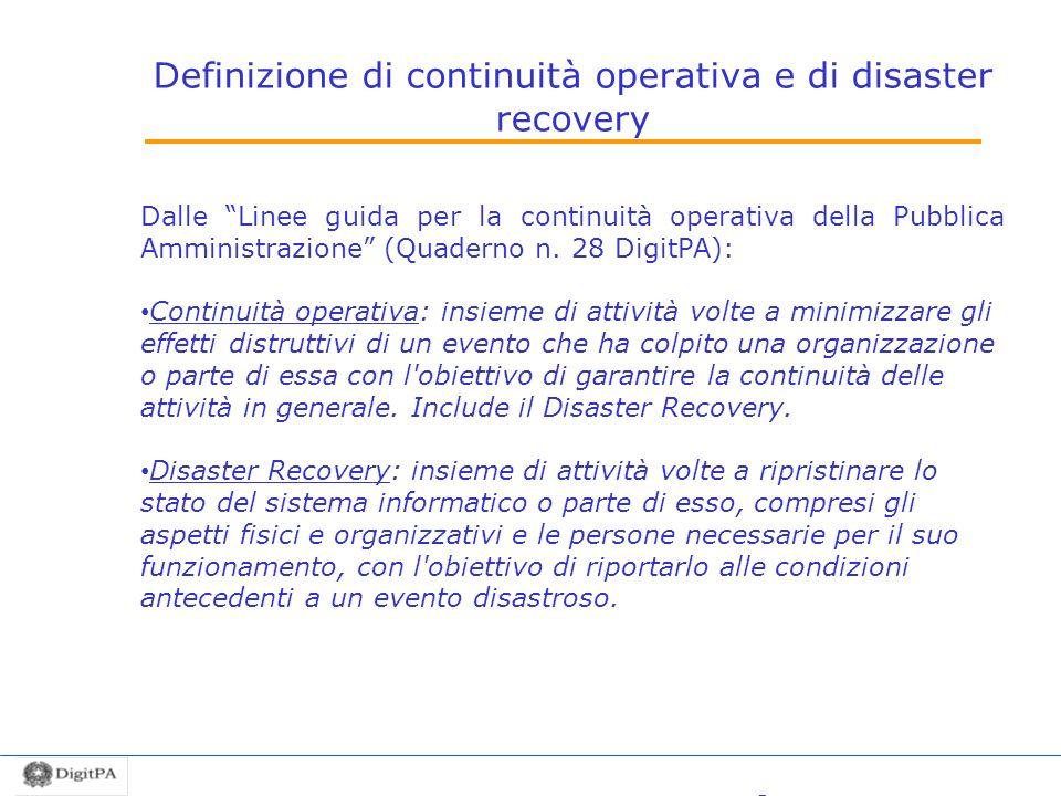 Definizione di continuità operativa e di disaster recovery