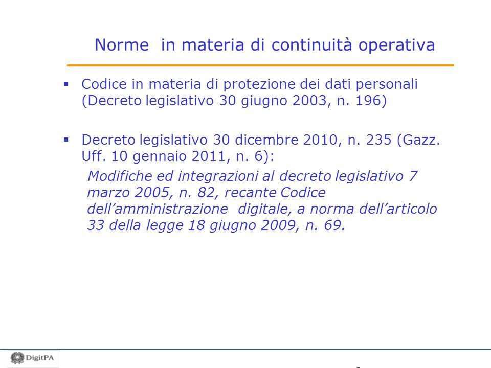 Norme in materia di continuità operativa