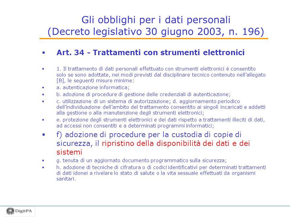 Gli obblighi per i dati personali (Decreto legislativo 30 giugno 2003, n. 196)