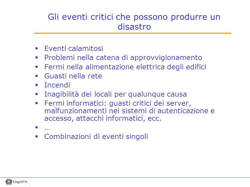 Gli eventi critici che possono produrre un disastro
