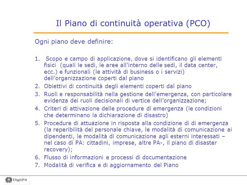 Il Piano di continuità operativa (PCO)