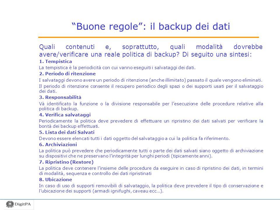 Buone regole : il backup dei dati