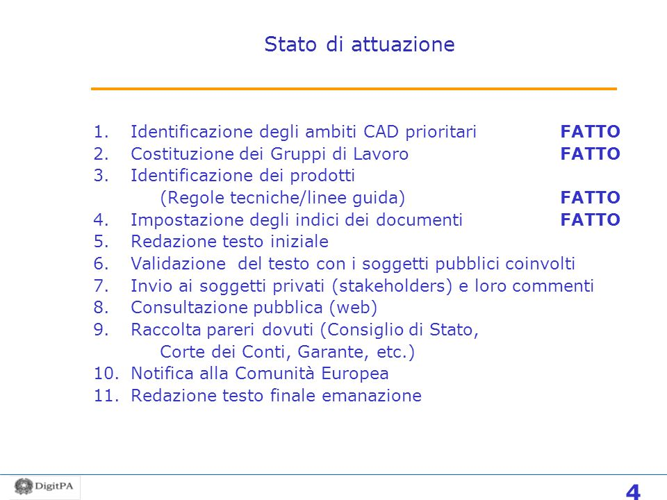 Stato di attuazione Identificazione degli ambiti CAD prioritari FATTO