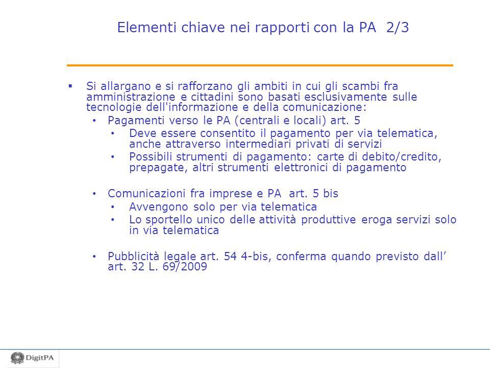 Elementi chiave nei rapporti con la PA 2/3