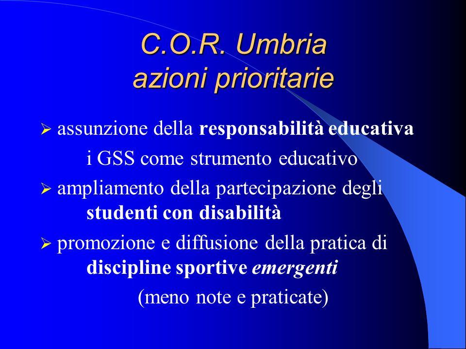 C.O.R. Umbria azioni prioritarie