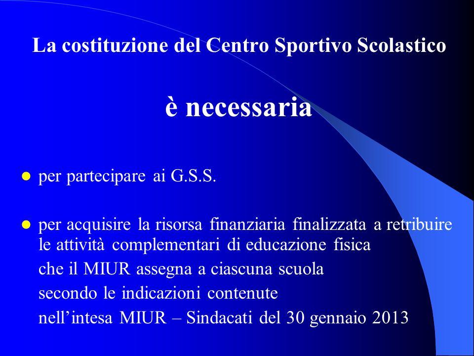 La costituzione del Centro Sportivo Scolastico