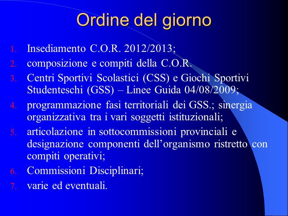 Ordine del giorno Insediamento C.O.R. 2012/2013;