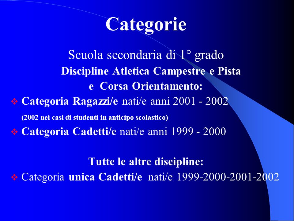 Discipline Atletica Campestre e Pista Tutte le altre discipline: