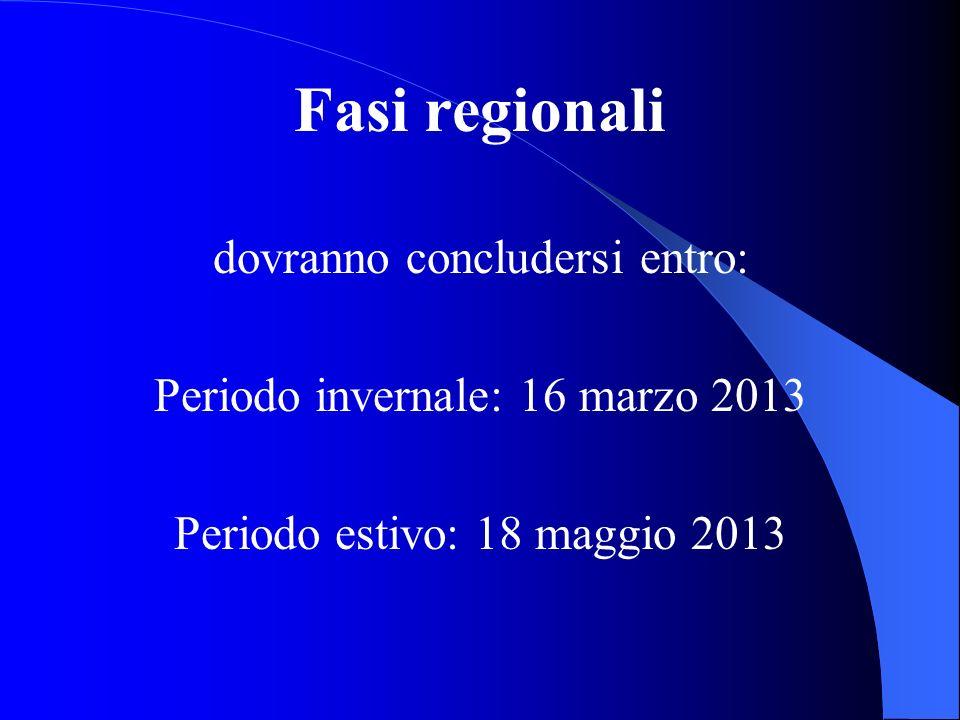 Fasi regionali dovranno concludersi entro: