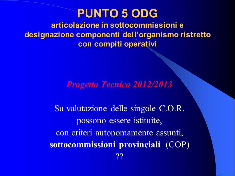 PUNTO 5 ODG articolazione in sottocommissioni e designazione componenti dell'organismo ristretto con compiti operativi