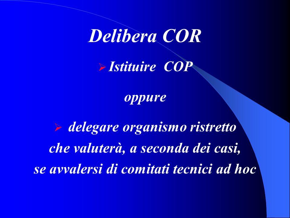 Delibera COR Istituire COP oppure delegare organismo ristretto