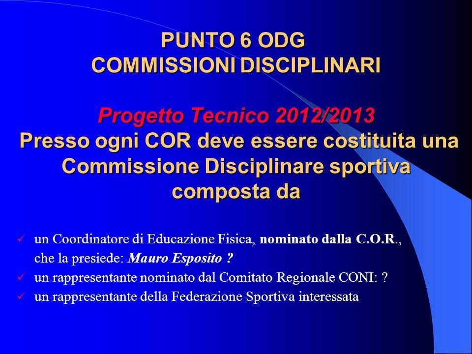 PUNTO 6 ODG COMMISSIONI DISCIPLINARI Progetto Tecnico 2012/2013 Presso ogni COR deve essere costituita una Commissione Disciplinare sportiva composta da