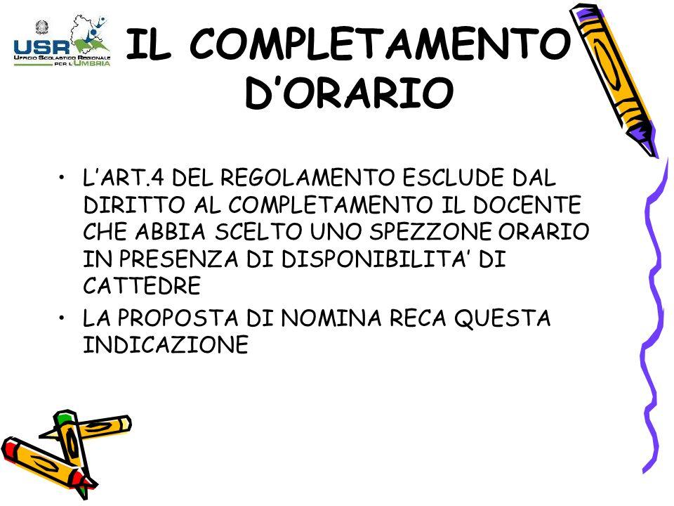 IL COMPLETAMENTO D'ORARIO