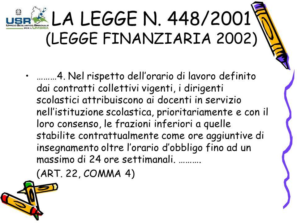 LA LEGGE N. 448/2001 (LEGGE FINANZIARIA 2002)