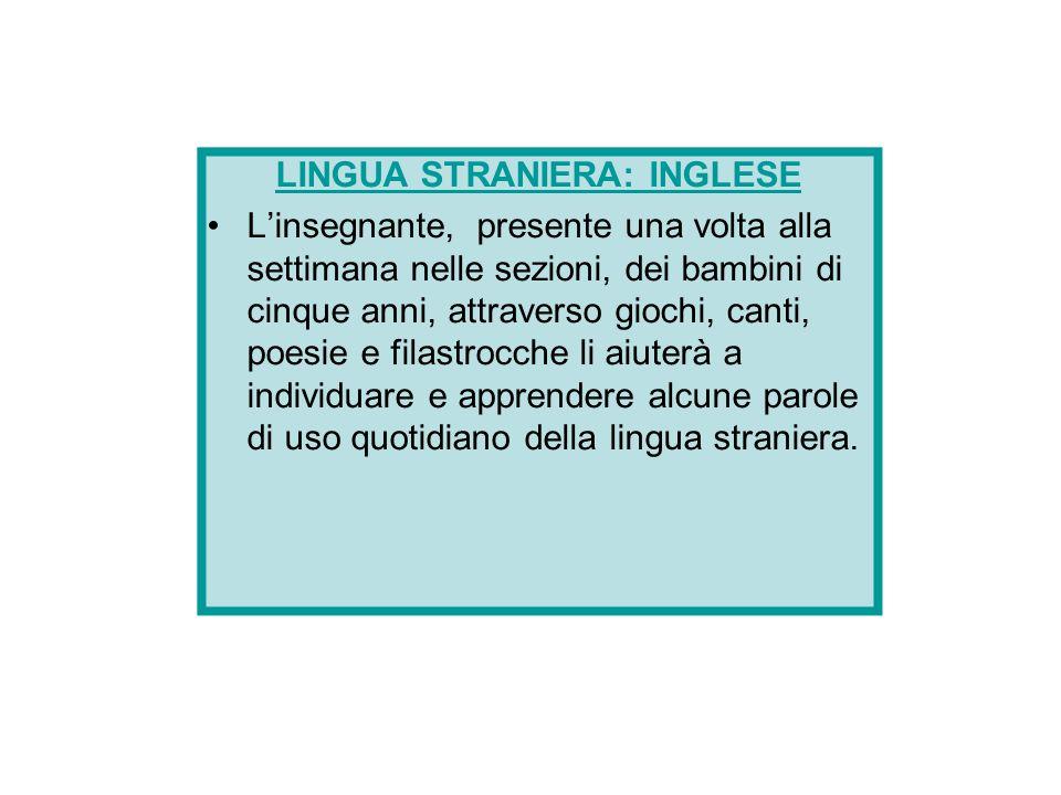 LINGUA STRANIERA: INGLESE