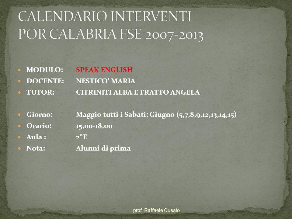 CALENDARIO INTERVENTI POR CALABRIA FSE 2007-2013