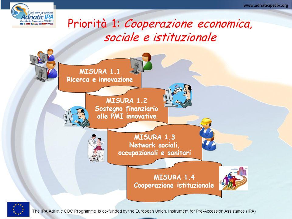 Priorità 1: Cooperazione economica, sociale e istituzionale