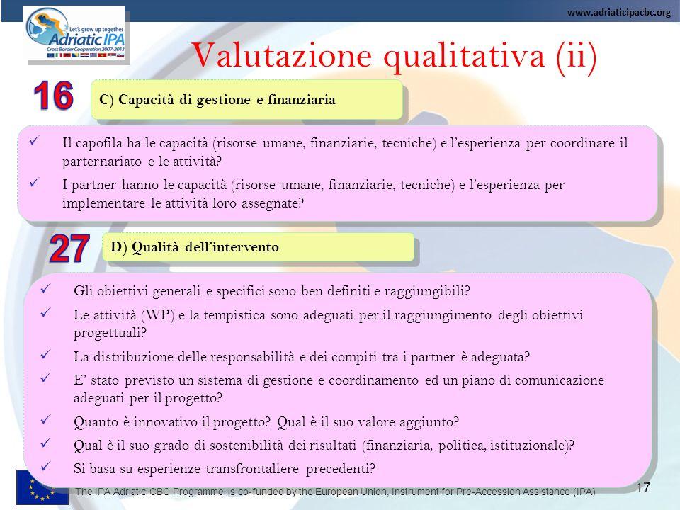 Valutazione qualitativa (ii)