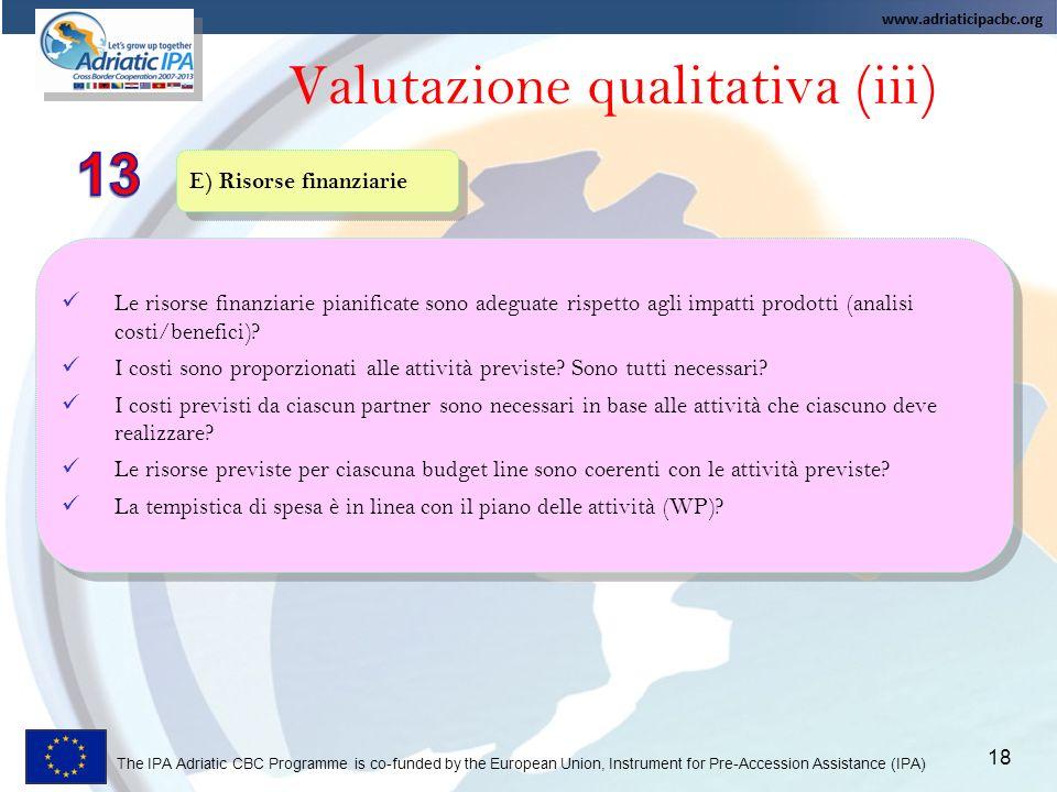 Valutazione qualitativa (iii)